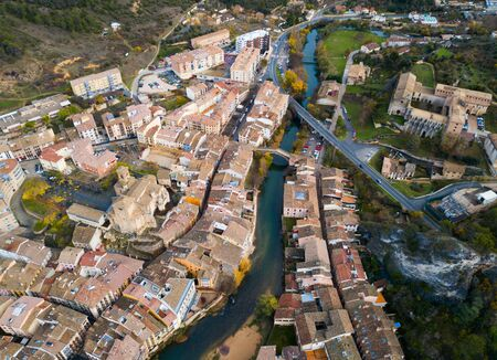 Aerial view of typical town of Basque Country. Estella-Lizarra. Spain Stockfoto