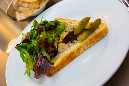 French cuisine. Delicate meat pate in dough (Pate en croute maison) garnished with greens and pickled cucumber Banque d'images