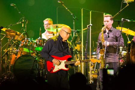 BARCELONA, SPAIN - APRIL 26, 2019: Famous British guitarist Mark Knopfler in concert at Palau Sant Jordi, Barcelona, Spain