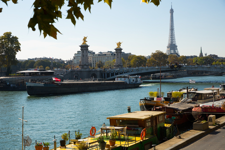 PARIS, FRANCE - OCTOBER 10, 2018: Eiffel Tower, Alexandre III bridge, Seine river, Paris, France
