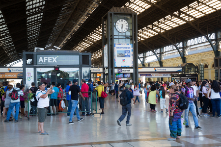 SANTIAGO, CHILE – FEBRUARY 10, 2017:  Busy Main Railway Station in city center full of travelers. Santiago, Chile