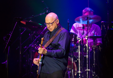 BARCELONA, SPAIN - APRIL 26, 2019: British rock musician, guitarist, vocalist and songwriter for Dire Straits Mark Knopfler giving concert at Palau Sant Jordi Editorial