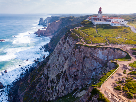 Cabo da Roca Lighthouse. Portuguese Farol de Cabo da Roca is most westerly European extent
