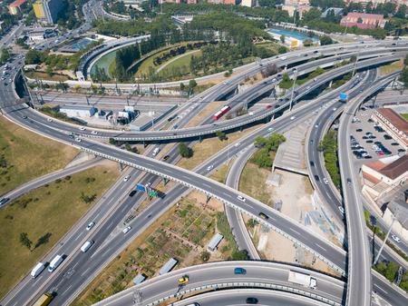 Aerial view of highway grade separation in Barcelona, Spain