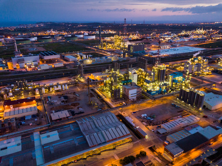 Night panoramic view of large chemical plant at Tarragona, Spain