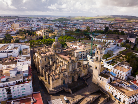 Aerial panoramic view of Jerez de la Frontera cityscape with Cathedral of Holy Saviour and Moorish alcazar, Spain