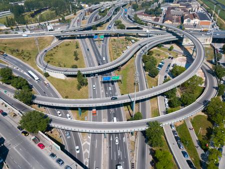 Aerial view of high-level highway interchange in Barcelona, Spain