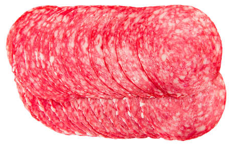 Top view of smoked salami sausage slices. Isolated over white background
