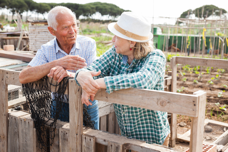Portrait of couple of mature man and woman gardeners near wooden fence in garden outdoor