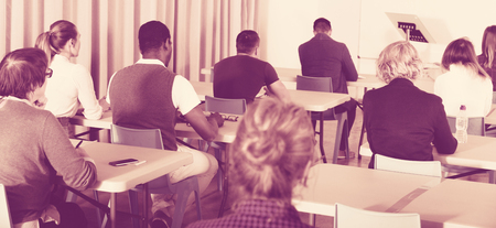 Back view of multinational group of adult students working in classroom