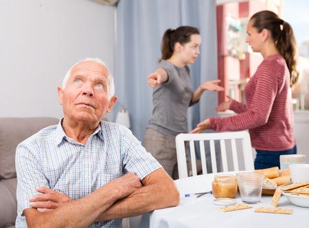 Bad domestic quarrel between family members at home