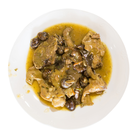 serving of dish with rabbit and snails on plate. Isolated over white background 版權商用圖片