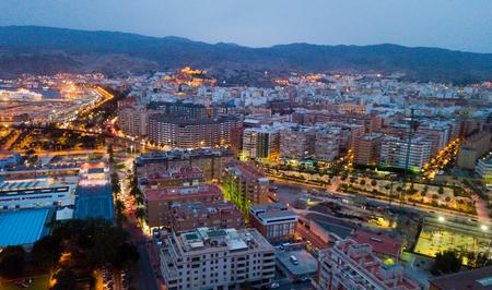 Aerial view of Almeria at twilight. Spain Stock Photo