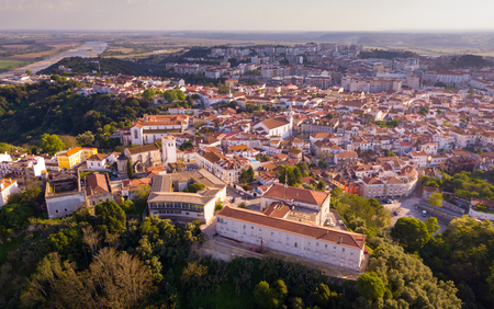 Aerial  view of  Santarem district with buildings and landscape, Portugal