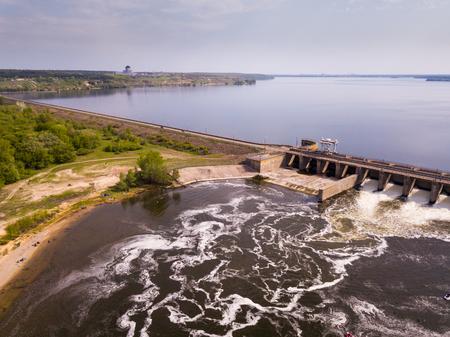 Landscape with concrete dam on river near Voronezh, Russia