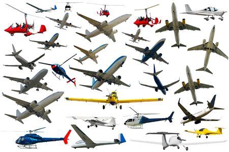Collection of powered flying vehicles isolated on white background Reklamní fotografie