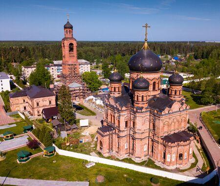 Scenic aerial view of Guslitsky Spaso-Preobrazhensky Monastery - missionary male monastery in Russian town of Kurovskoye