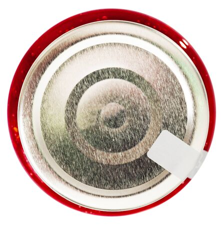 Top view of silver metal lid on glass jar with raspberry jam. Isolated over white background Imagens