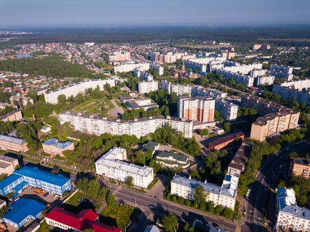 Aerial panoramic view of modern residential areas of Orekhovo-Zuyevo city and Orthodox Cathedral, Russia