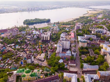 Scenic landscape with Russian city of Voronezh and Voronezh River in spring day