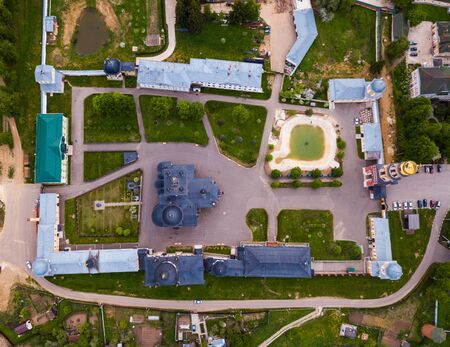 Picturesque aerial view of Ascension David hermitage - Orthodox male monastery in small Russian village of Novy Byt Фото со стока - 124724432