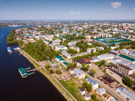 Aerial view of old Russian city of Kostroma on bank of Volga River overlooking ancient Gostiny Dvor