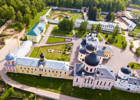 Scenic rural landscape with medieval Voznesensky Davidovsky Monastery in village of Novy Byt, Chekhovsky District, Russia