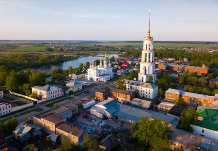 Aerial view of Resurrection Cathedral on bank of Teza River in Russian city of Shuya,  Ivanovo oblast Stock Photo