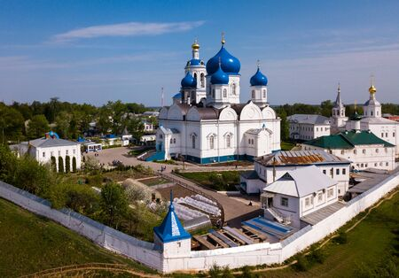 Scenic spring landscape overlooking female Orthodox monastery in village of Bogolyubovo, Suzdal district, Russia