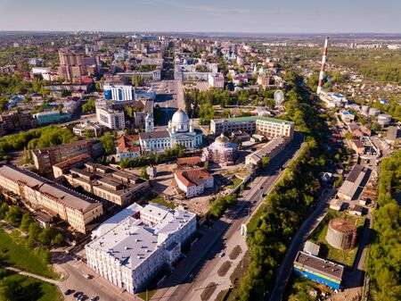 Panoramic aerial view of  district of Kursk with houses, Russia