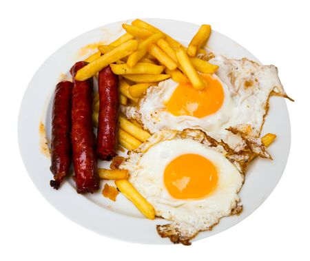 Huevos con chistorra, dish of traditional Navarra cuisine. Isolated over white background