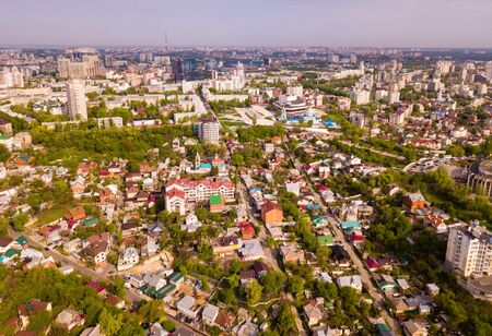 View from drone of historic center and modern residential areas of Voronezh city, Russia Фото со стока