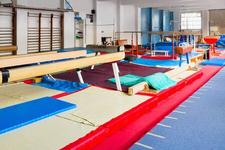 Various new gymnastic equipment at acrobatic center