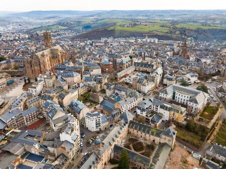 View from drone of town of Rodez with Cathedral of Notre-Dame, France