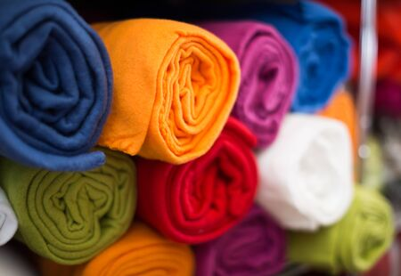 colour towel for bathroom in the textile store on the shelf Stock Photo
