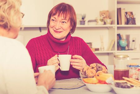 Positive old women sitting and drinking tea in the room at the table