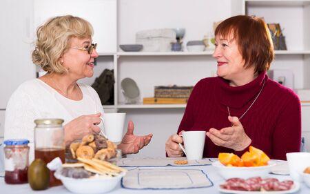 Portrait of cheerful mature females talking and drinking tea 版權商用圖片