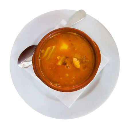 Traditional Spanish dish Olla Morellana – potage with beans. Isolated over white background Archivio Fotografico