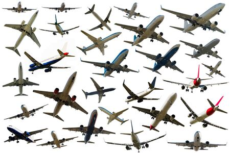 Collection of passenger aircrafts isolated on white background