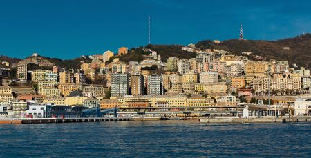 Old Port of Genoa with colorful houses on italian coastline outdoor.