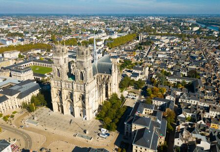 Aerial view of Orleans old center and Sainte-Croix Cathedral, France 写真素材