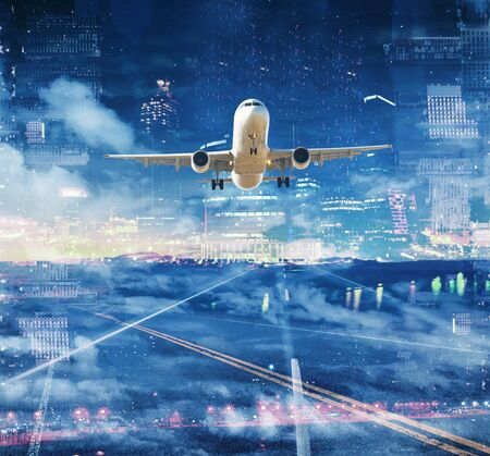 Airplane soaring high in colorful background with various buildings