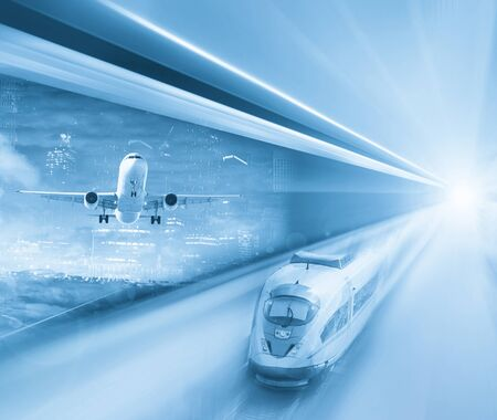 Speed of train and plane traveling growing in modern world