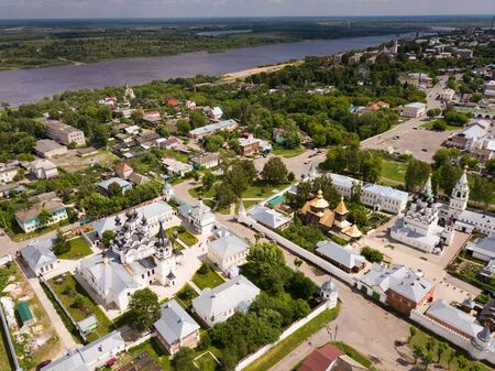 Picturesque city landscape of Murom on Oka river with two main monasteries, Russia