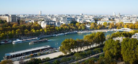 Aerial panoramic view of center of Paris on sunny day