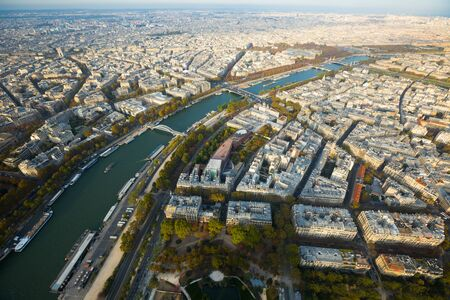 Picturesque panoramic view of Paris with Seine river in autumn, France
