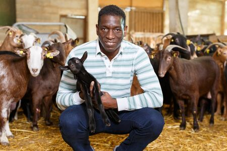 Portrait of African American male goats breeder with goatlings in barn