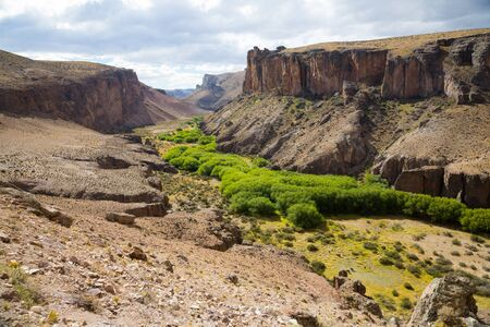 Panorama of canyon Rio Pinturas in sunny summer day. Santa Cruz, Patagonia, Argentina, South America