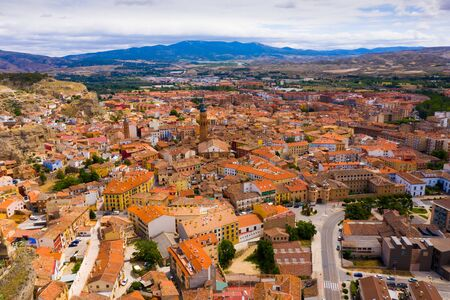 View from drone of Calatayud cityscape with ancient Mudejar-style tower, Aragon, Spain Banco de Imagens