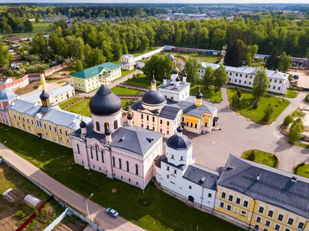 Scenic aerial view of Ascension David hermitage - Orthodox male monastery in Russian village of Novy Byt